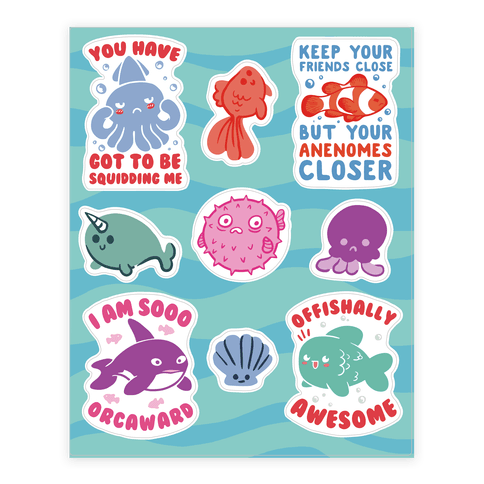 Fish Puns  Sticker/Decal Sheet