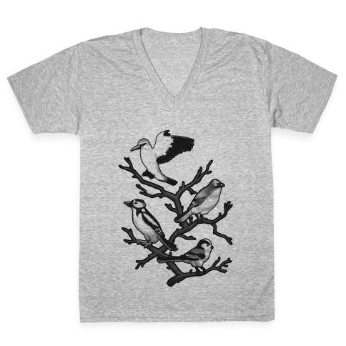 Woodland Birds V-Neck Tee Shirt
