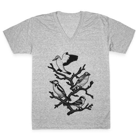 Woodland Birds V-Neck Tee Shirt