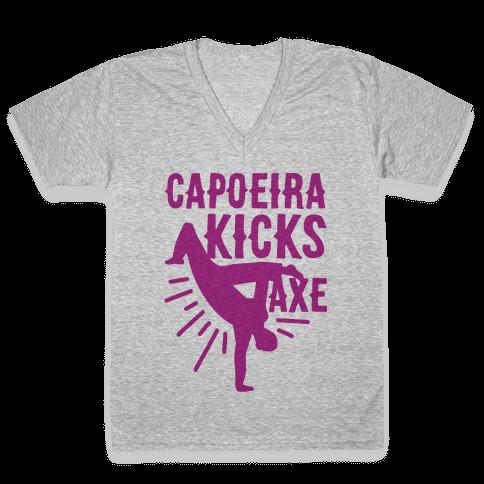 Capoeira Kicks Axe V-Neck Tee Shirt