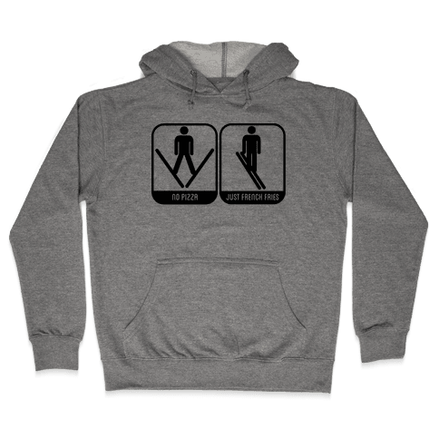 Skiing Pizza and French Fries Hooded Sweatshirt