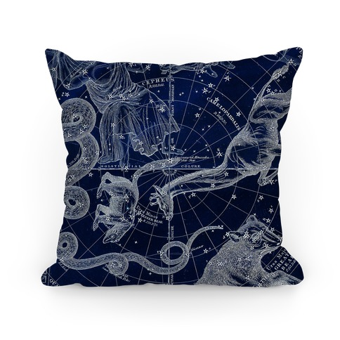 Blue and White Constellations Pillow