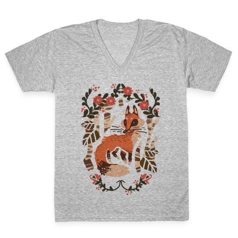 Fox In The Forest V-Neck Tee Shirt