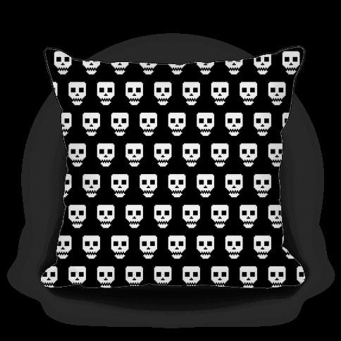 Spoopy Pixel Skull Pillow