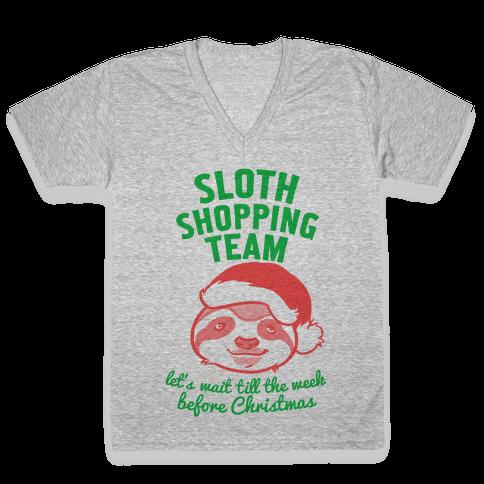 Sloth Shopping Team V-Neck Tee Shirt