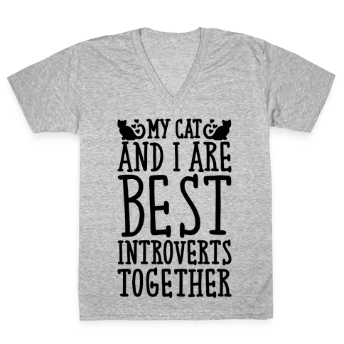My Cat and I Are Best Introverts Together V-Neck Tee Shirt