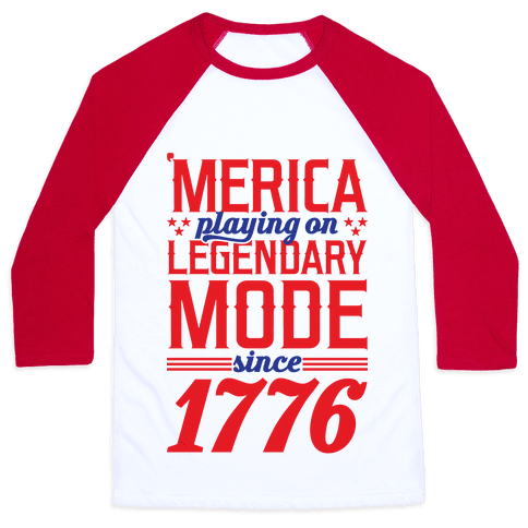 Merica Playing On Legendary Mode Since 1776 Baseball Tee