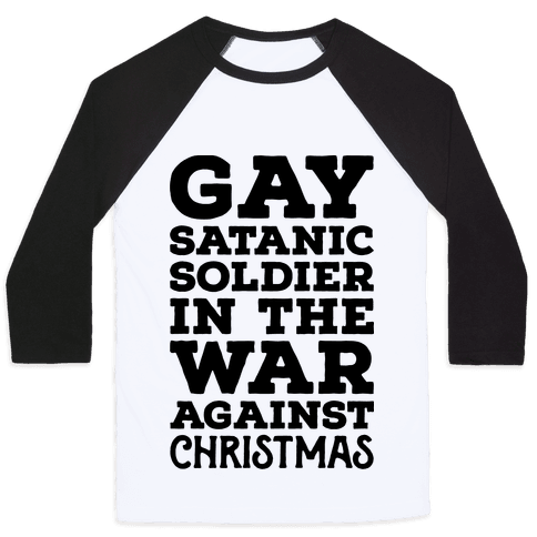 Gay Satanic Soldier Baseball Tee