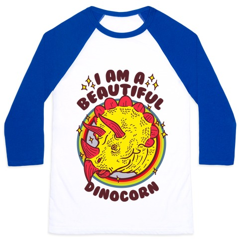 I Am A Beautiful Dinocorn Baseball Tee