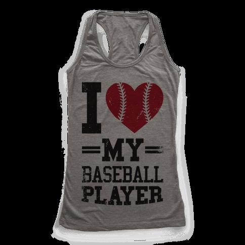 I Love My Baseball Player Racerback Tank Top