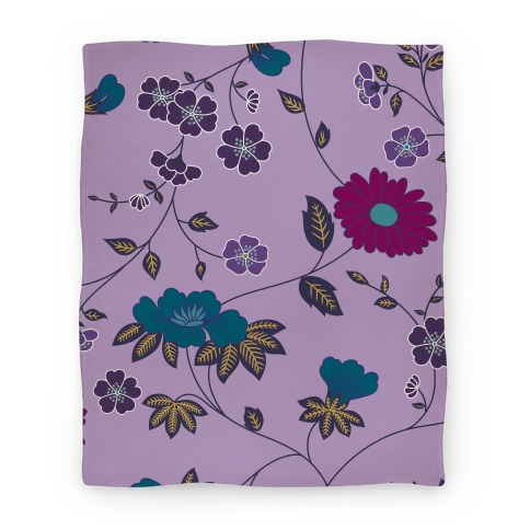 Pretty Floral Pattern Blanket (Purple) Blanket