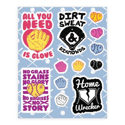 Softball  Sticker/Decal Sheet