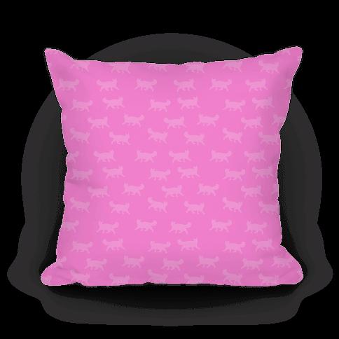 Pink Cat Pattern Pillow