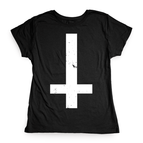 Upside Down Cross Womens T-Shirt
