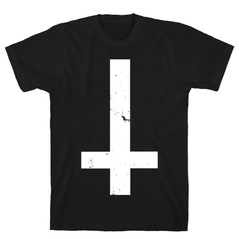 Upside Down Cross Mens T-Shirt