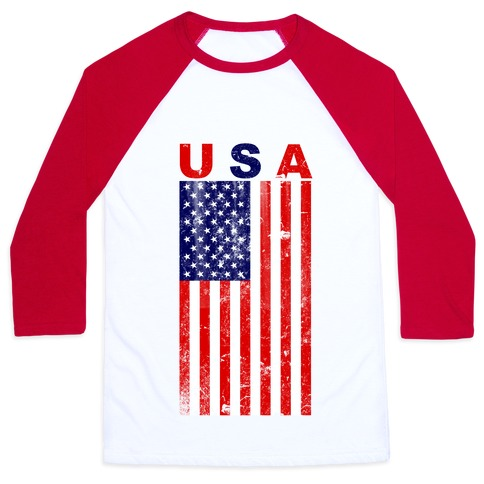 USA Flag Baseball Tee