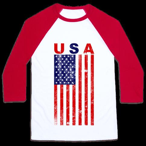 USA Flag Baseball Tee