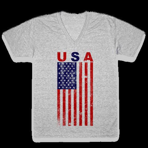 USA Flag V-Neck Tee Shirt