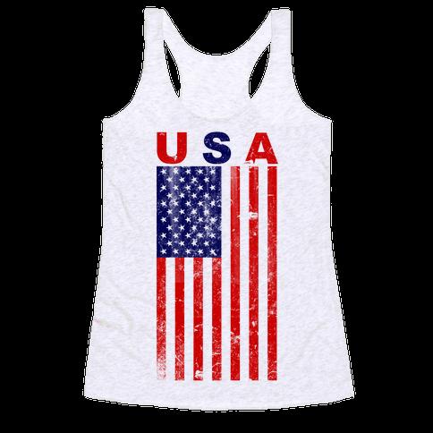 USA Flag Racerback Tank Top
