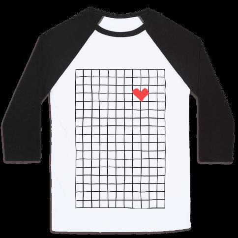Graph My Heart Grid Pattern Baseball Tee
