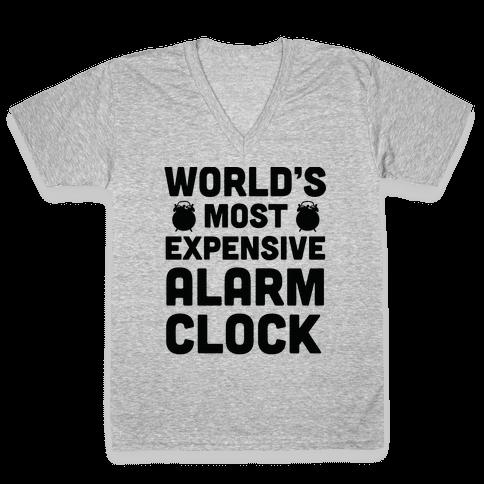 World's Most Expensive Alarm Clock V-Neck Tee Shirt