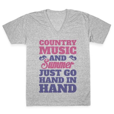 Country Music and Summer V-Neck Tee Shirt