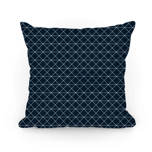 Navy Grid Pattern Pillow