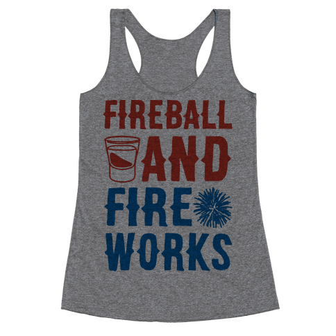 Fireball and Fire Works  Racerback Tank Top