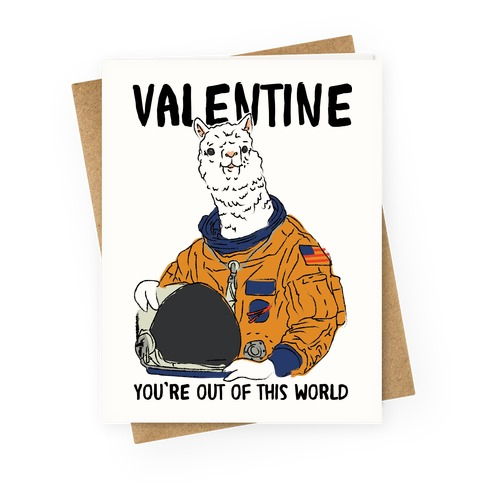 Valentine Space Alpaca Greeting Card