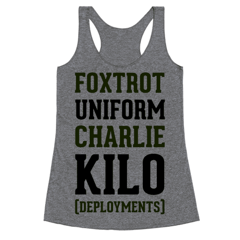 Foxtrot Uniform Charlie Kilo (Deployments) Racerback Tank Top