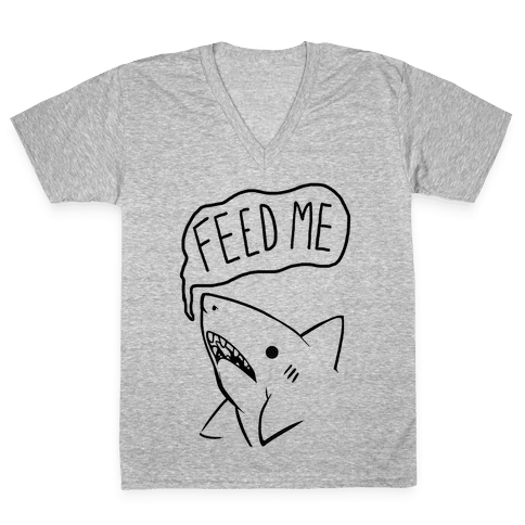 Feed Me Shark V-Neck Tee Shirt