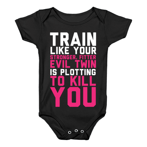 Stronger, Fitter Evil Twin Baby Onesy