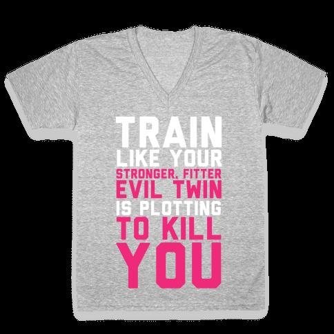 Stronger, Fitter Evil Twin V-Neck Tee Shirt