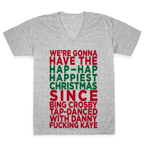 Hap-Hap Happiest Christmas (baseball) V-Neck Tee Shirt