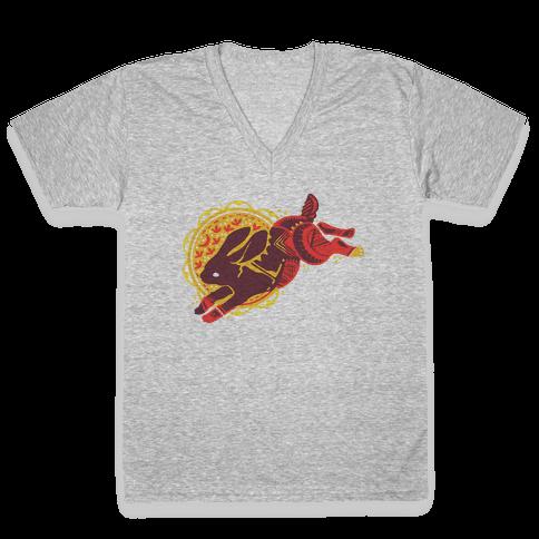 Tribal Rabbit V-Neck Tee Shirt