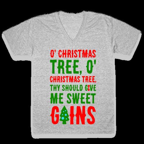 O' Christmas Tree Thy Should Give Me Sweet Gains V-Neck Tee Shirt