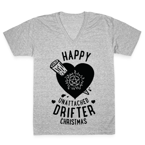 Happy Unattached Drifter Christmas V-Neck Tee Shirt