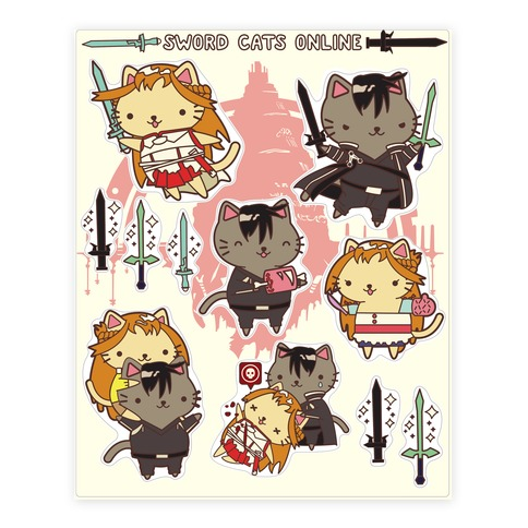 Sword Cats Online Sticker and Decal Sheet