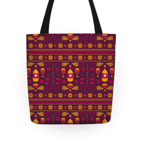 Ugly Wine Christmas Sweater Pattern Tote