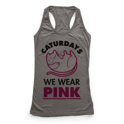 Caturdays We Wear Pink Racerback Tank Top