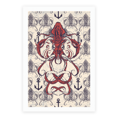 Kraken Tangle Pattern Poster