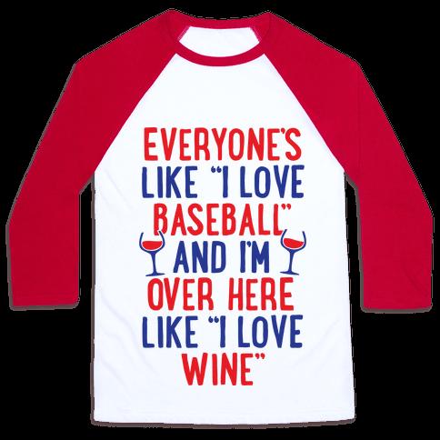 Baseball And Wine Baseball Tee