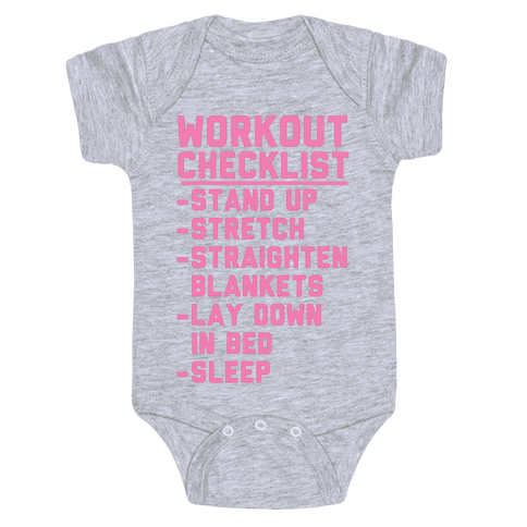 Workout Checklist Baby Onesy