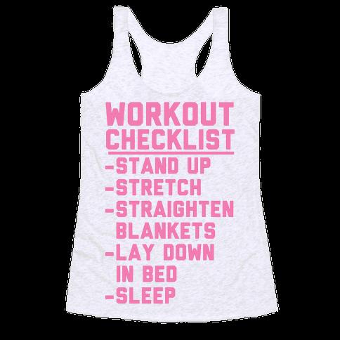 Workout Checklist Racerback Tank Top