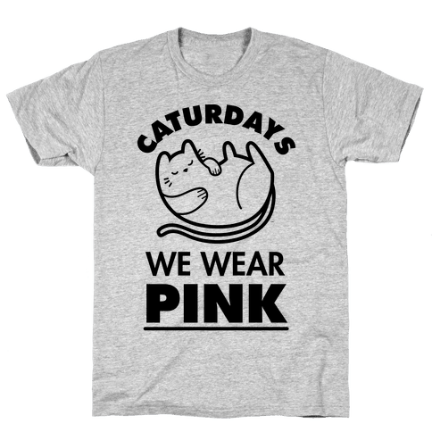 Caturdays We Wear Pink Mens T-Shirt