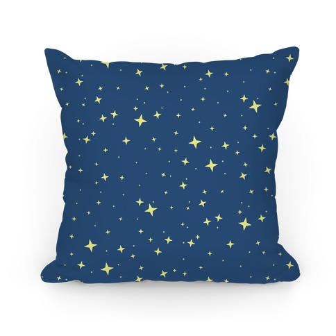 Blue Twinkling Star Sparkles Pattern Pillow