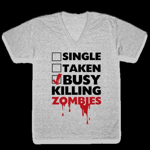 Busy Killing Zombies V-Neck Tee Shirt
