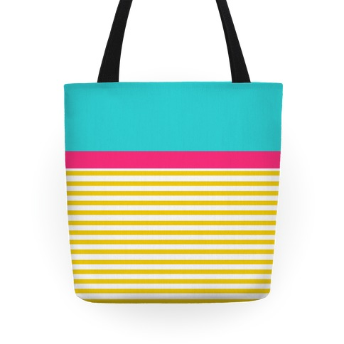 Yellow And Pink Color Block Stripe Tote