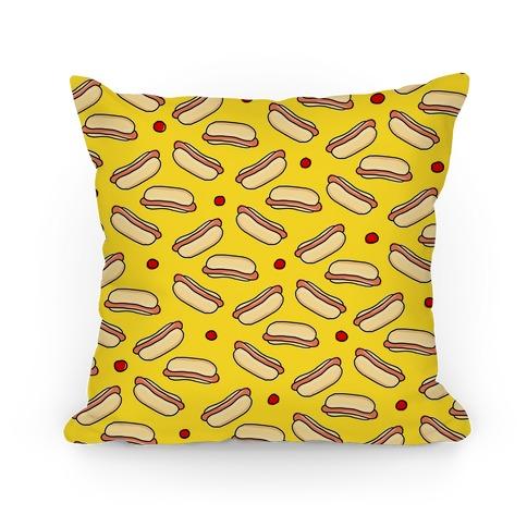 Yellow Hot Dog Pattern Pillow