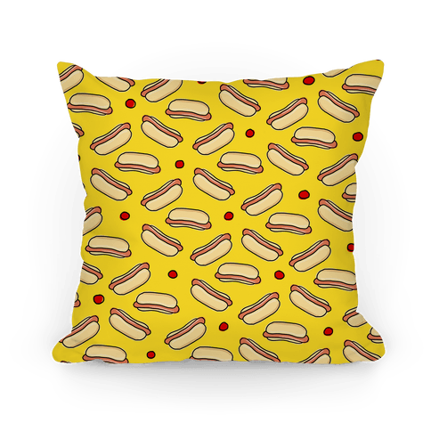 Yellow Hot Dog Pattern Pillow